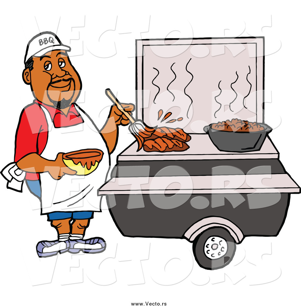1024x1044 Vector Of Black Male Chef Brushing Bbq Sauce Over Meat On