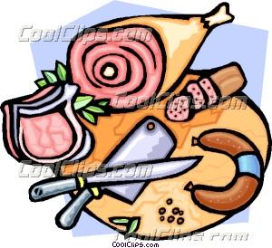 300x274 Butcher's Block With Various Meats Clip Art