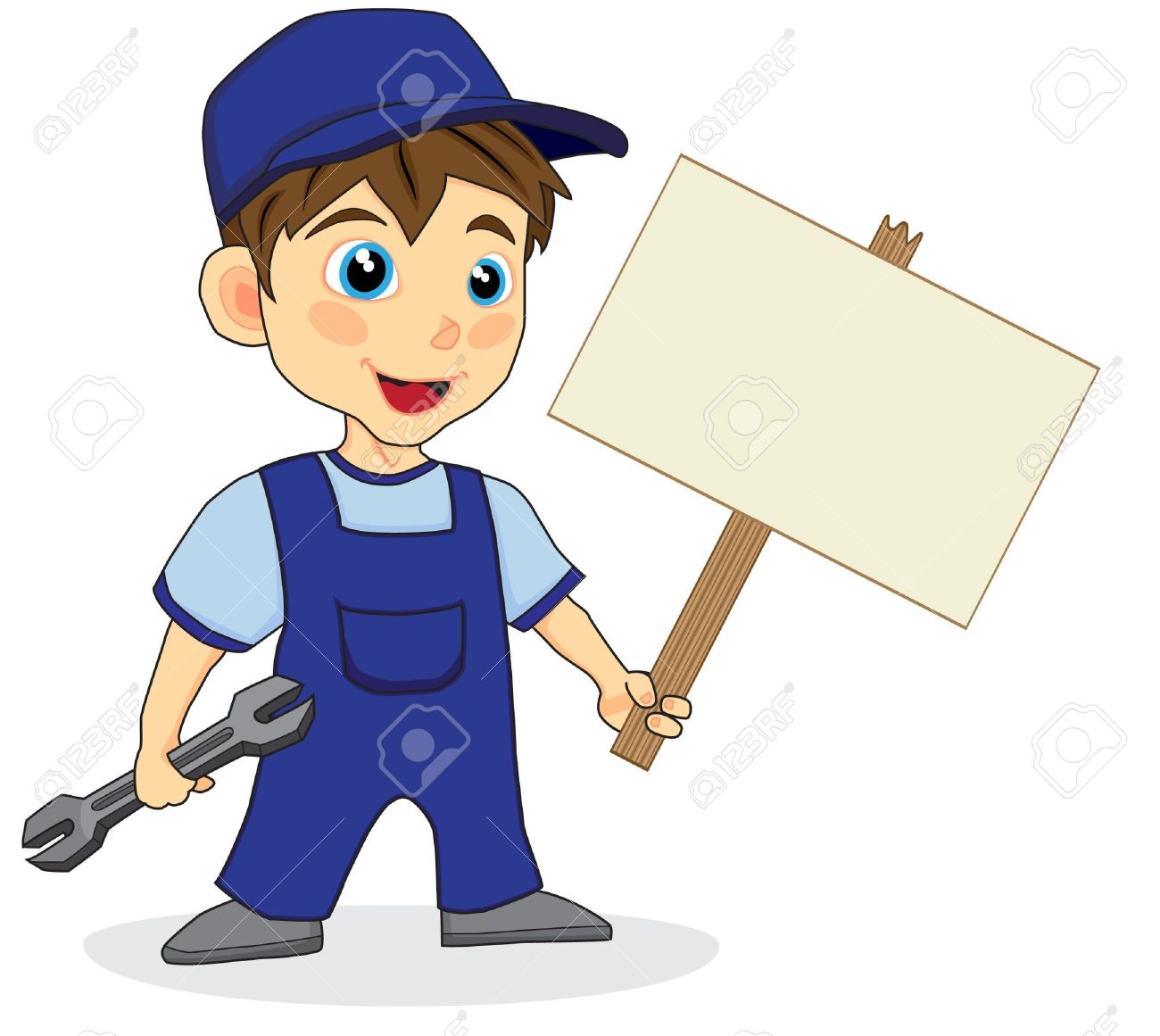 1300x1161 Cute Mechanic Boy With Wood Sign Royalty Free Cliparts, Vectors