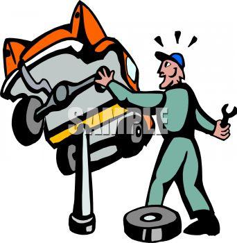 342x350 Royalty Free Clip Art Image Surprised Mechanic Car Falling Off