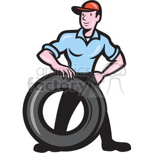 300x300 Royalty Free Mechanic Tire Technician Shape 392397 Vector Clip Art