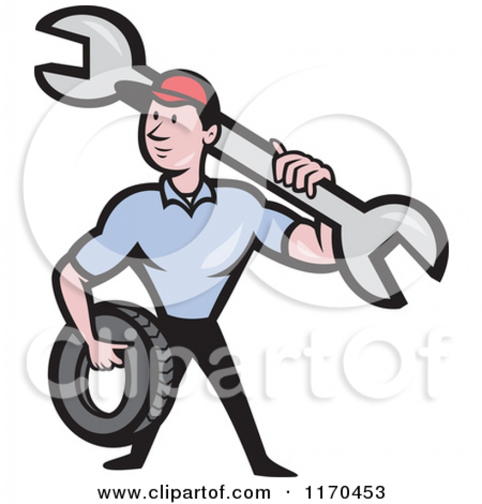 980x1024 Clipart Of A Cartoon Mechanic Worker Holding A Tire And Spanner