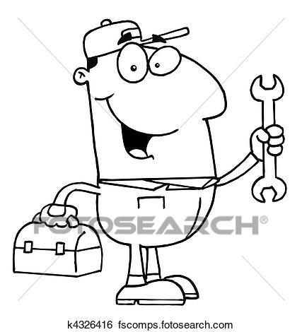 427x470 Clip Art Of Mechanic Guy K4326416