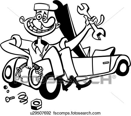 450x398 Clipart Of , Auto, Car, Mechanic, Trade, Work, Cartoon, U29507692