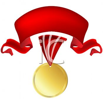 350x350 Royalty Free Clip Art Image Gold Medal With A Red Ribbon