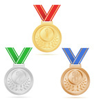 136x150 Winner Silver, Bronze And Gold Medals On Ribbon Royalty Free