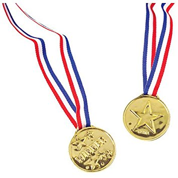 355x355 Plastic Gold Star Winner Medals With Ribbons (12