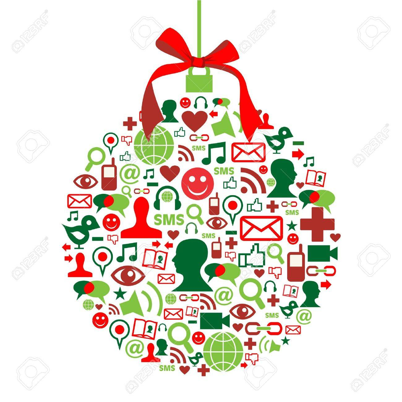 1300x1300 Christmas Bauble Shape Made With Social Media Icons Set. Royalty
