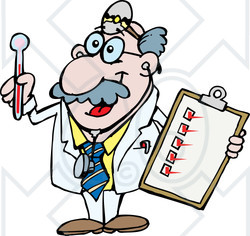250x236 Clipart Illustration Of Happy Senior Medical Doctor Holding