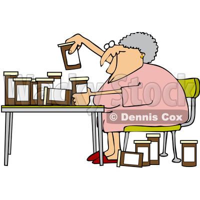 400x400 Free Vector Clip Art Illustration Of A Senior Woman Comparing