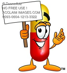 278x300 Clipart Image Of A Cartoon Pill Character Holding A Blank Sign