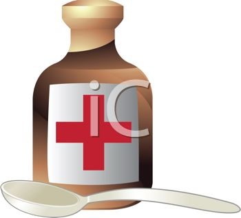 350x317 3d Bottle Of Medicine With A Spoon