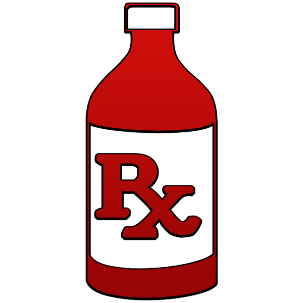 600x600 Rx Liquid Prescription Bottle Clipart Image