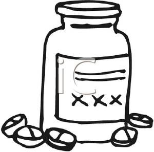 300x297 Black And White Medicine Bottle
