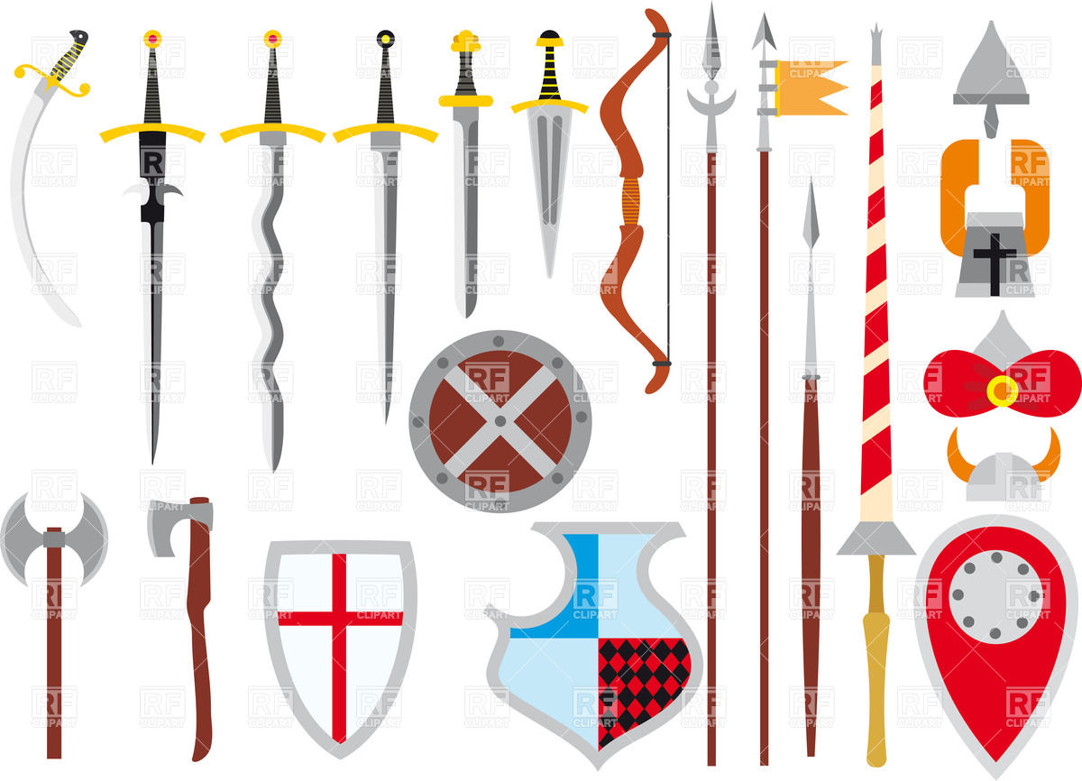 1200x866 Set Of Medieval Weapon And Defenses Royalty Free Vector Clip Art