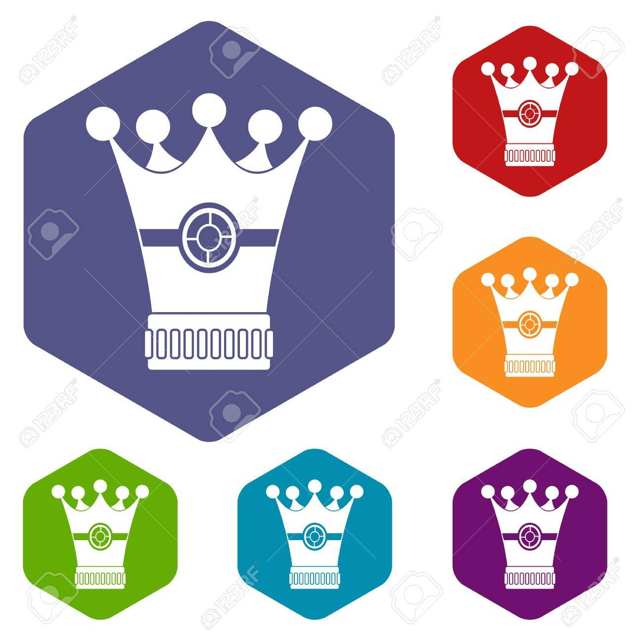 1300x1300 Medieval Crown Icons Set Hexagon Royalty Free Cliparts, Vectors
