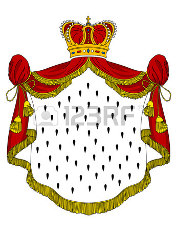 346x450 Medieval Royal Mantle With Crown For Heraldry Design Royalty Free