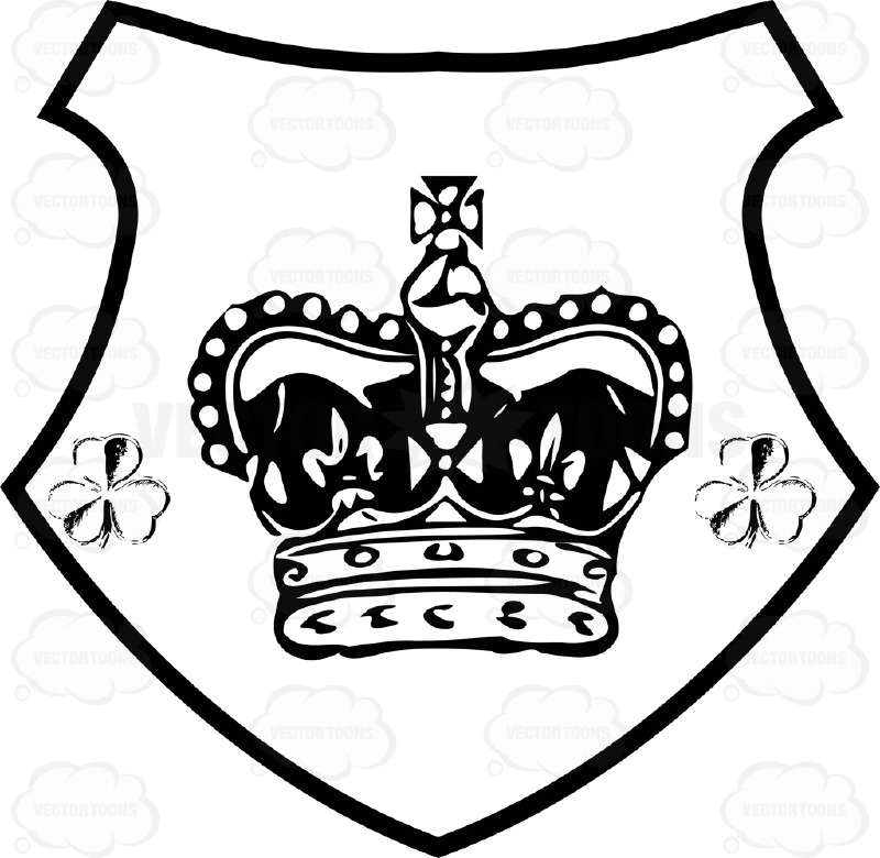 800x780 Black And White Crown With Cross On Top And Two Clovers On Side