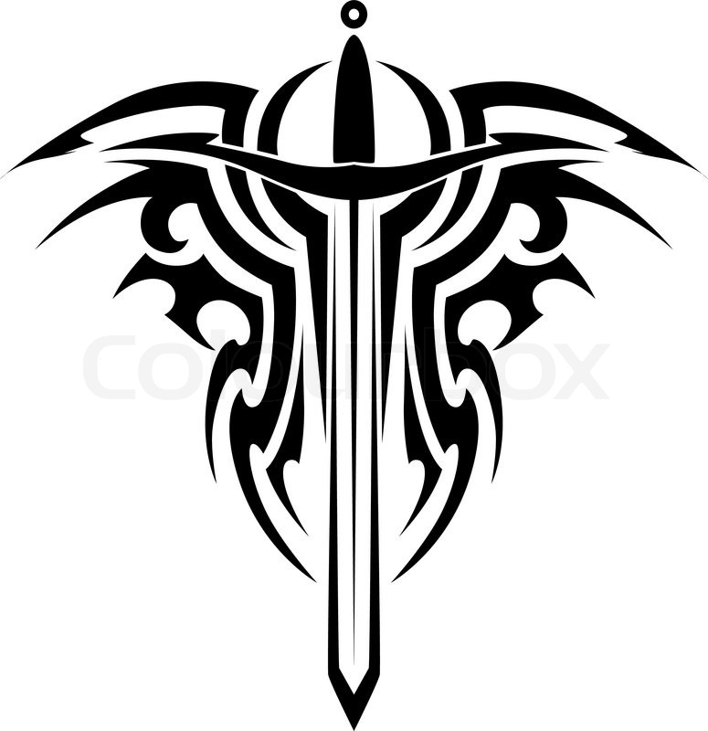 775x800 Tribal Tattoo Design With Medieval Sword Isolated On White Stock