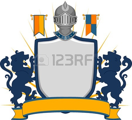 450x409 Banner Illustration Featuring A Shield With A Medieval Design