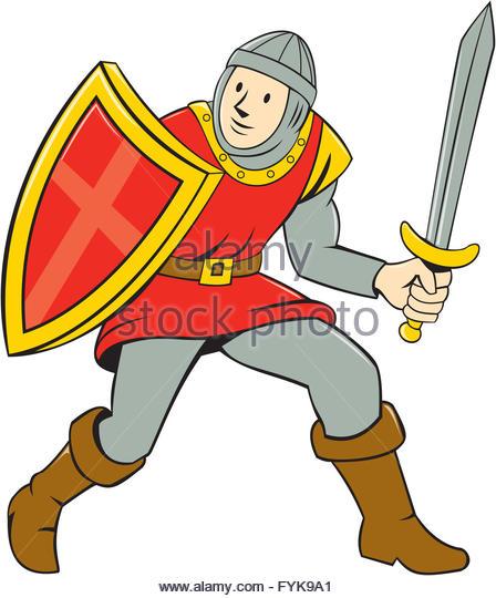 448x540 Medieval Knight Shield Sword Cartoon Stock Photos Amp Medieval