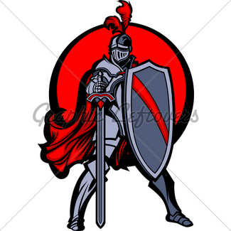 325x325 Medieval Knight With Sword And Shield Vector Mascot Gl Stock Images