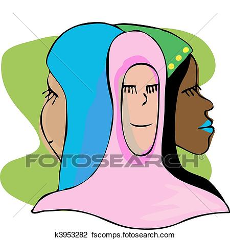 450x470 Clipart Of Three Serene Muslim Women In Meditation K3953282