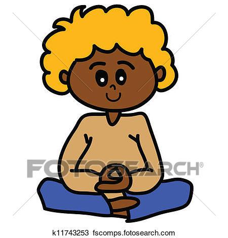 450x470 Clipart Of Cartoon Hand Drawn Meditation K11743253