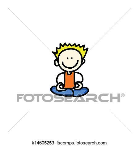 450x470 Clipart Of Cartoon Happy People Meditation K14605253