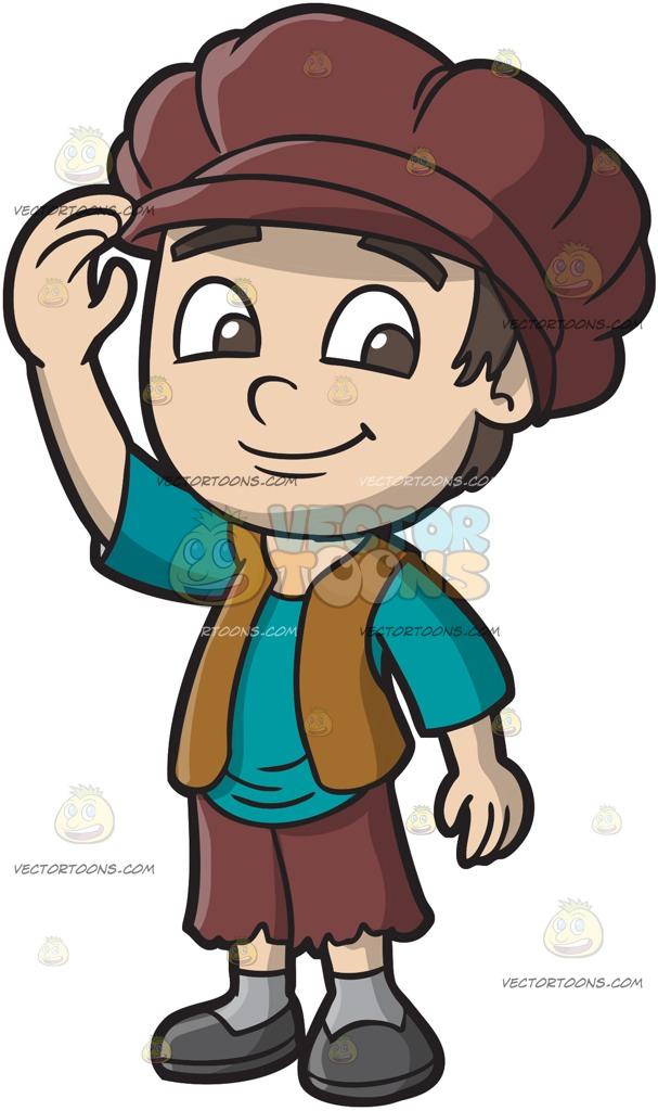 607x1024 A Friendly Medieval Boy Cartoon Clipart
