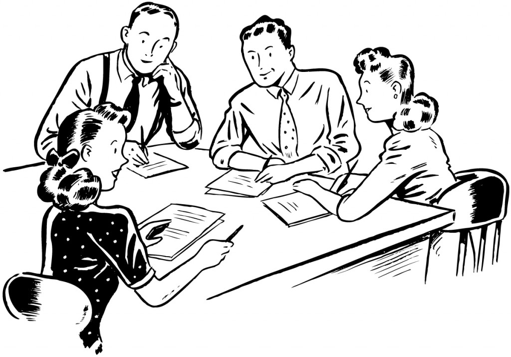 meeting clipart black and white