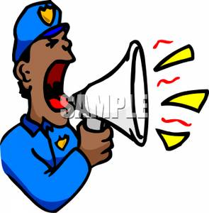 295x300 Picture A Policeman Yelling Into A Megaphone