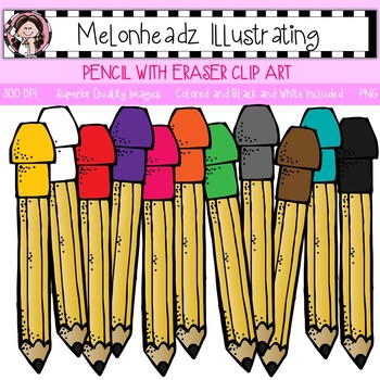 350x350 Melonheadz Pencil With Eraser Clip Art