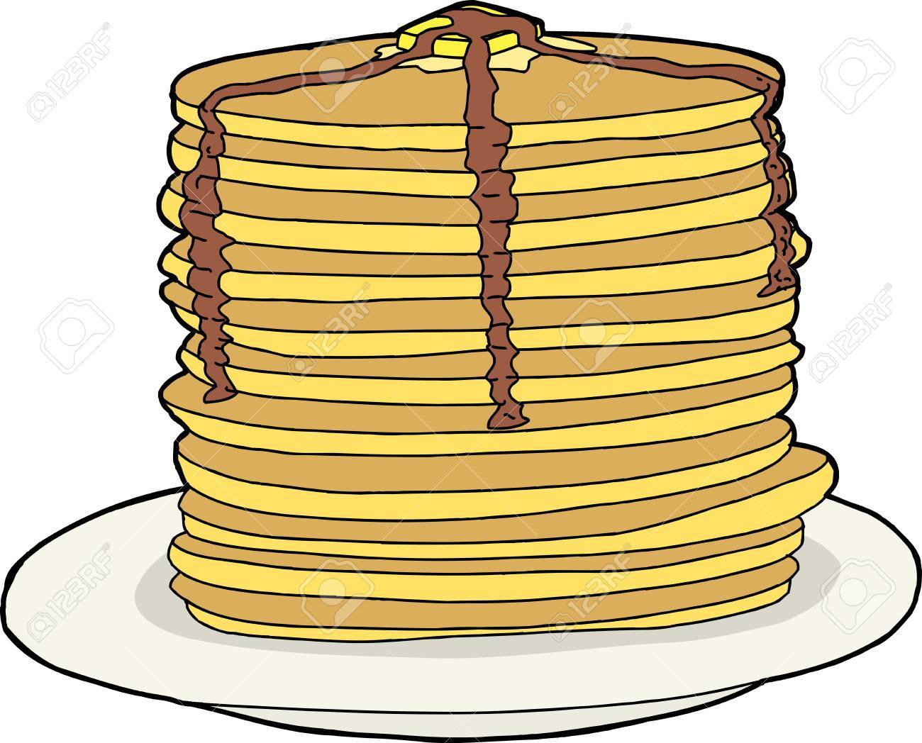 1300x1048 Tall Stack Of Flapjacks With Melted Butter And Syrup Royalty Free