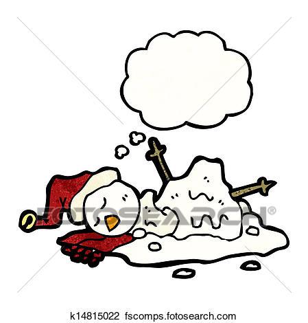 449x470 Clipart Of Melting Snowman Cartoon K14815022