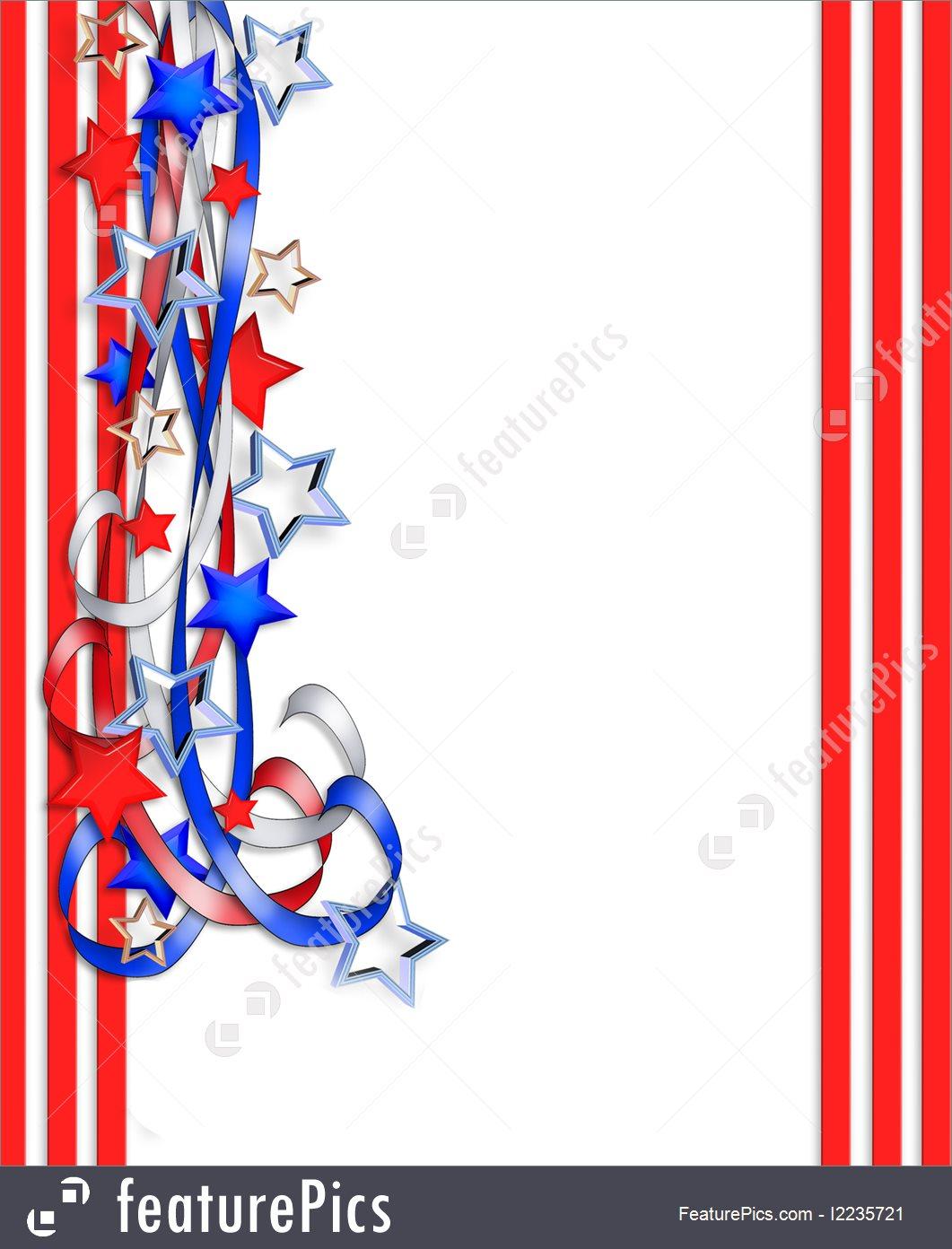 1061x1392 Illustration Of July 4 Patriotic Border
