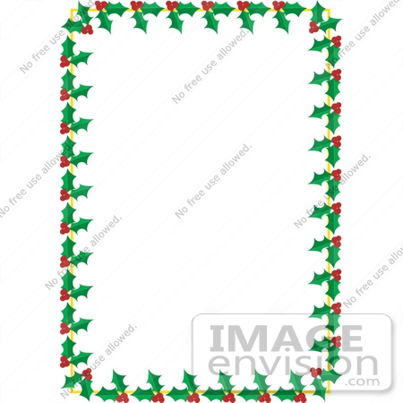 450x450 Christmas Clipart Of A Stationery Border Of Green Holly Leaves