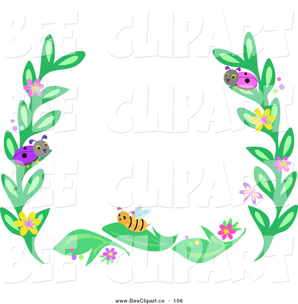 1024x1044 Vector Clip Art Of A Border Frame Of Leaves And Bugs On White By