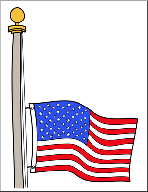 304x393 Clip Art Memorial Day Half Mast Flag Color 2 I