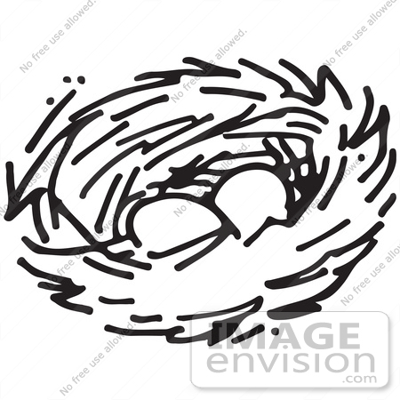 450x450 Clipart Of A Nest With Two Eggs In Black And White
