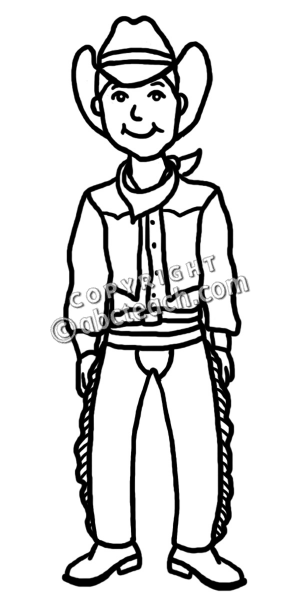 300x600 Cowboy Drawings Clip Art