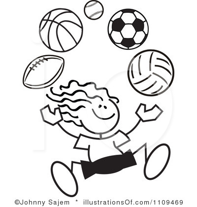 400x420 Line Drawing Sports Clip Art