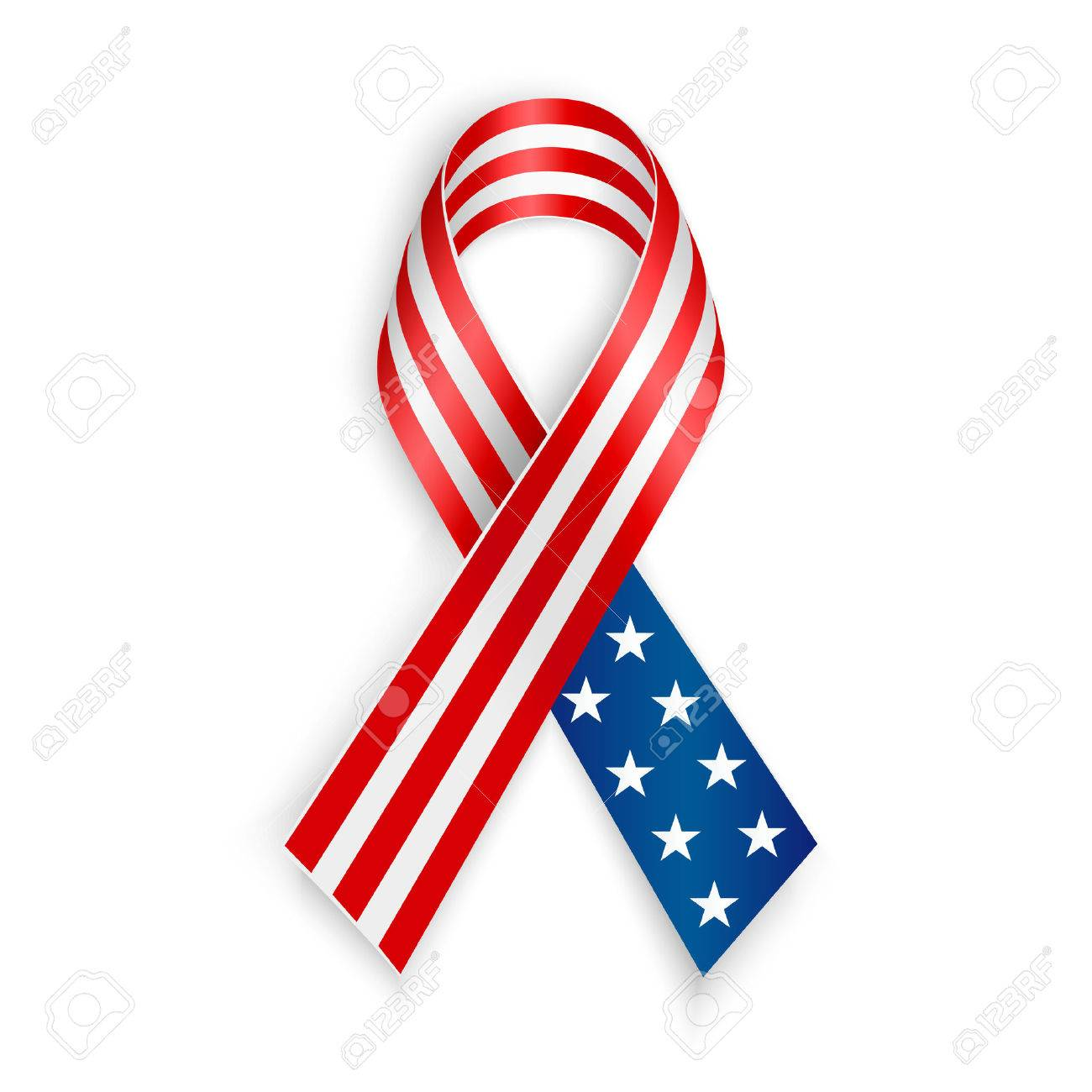 1300x1300 American Flag Ribbon. Patriotic Support Symbol. Independence