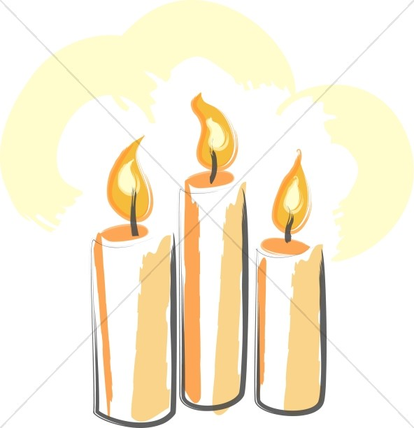 592x612 Trinity Of Orange Candles Trinity Clipart