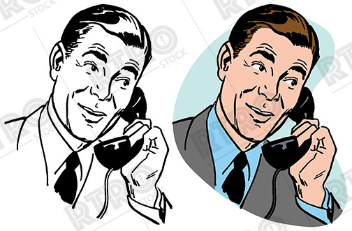 504x331 A Man In A Suit Talks On A Vintage Telephone Retro Clipart Clip