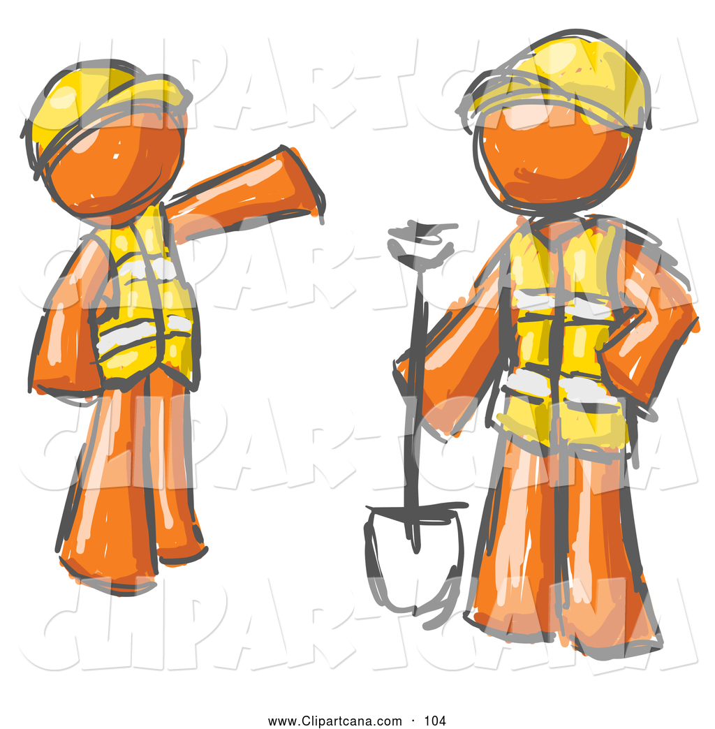 1024x1044 Clip Art Of A Pair Of Painted Orange Men In Hardhats And Vests