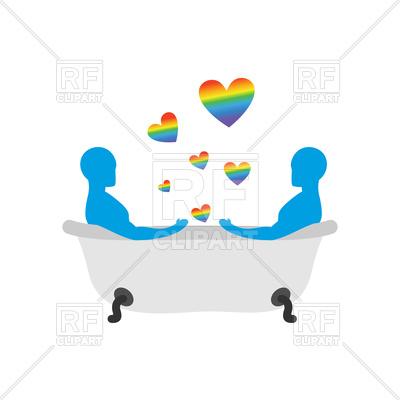 400x400 Gays In Bath, Two Men In Bath Royalty Free Vector Clip Art Image