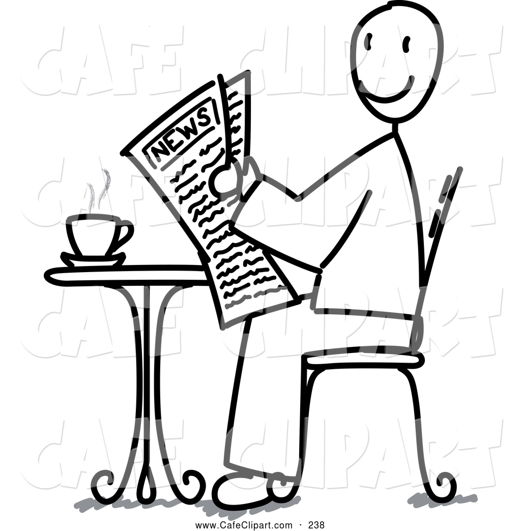 1024x1044 Vector Clip Art Of A Black And White Stick Man Reading The News