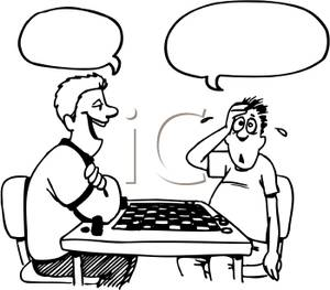 300x263 And White Men Playing Checkers Clip Art Image