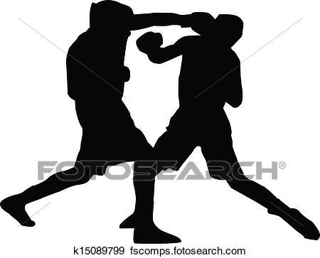 450x363 Clip Art Of Men Boxing Silhouette K15089799